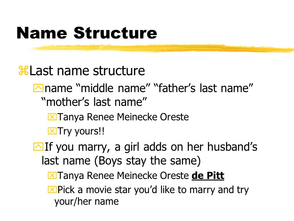 Name Structure Last name structure