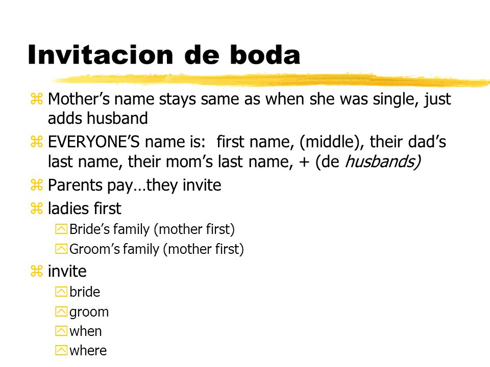 Invitacion de boda Mother's name stays same as when she was single, just adds husband.