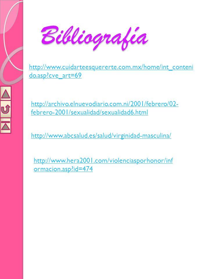 Bibliografía http://www.cuidarteesquererte.com.mx/home/int_contenido.asp cve_art=69.