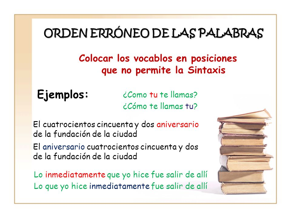 ORDEN ERRÓNEO DE LAS PALABRAS