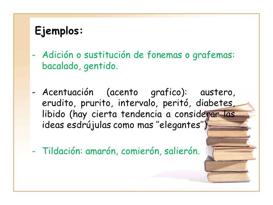 Ejemplos:Adición o sustitución de fonemas o grafemas: bacalado, gentido.
