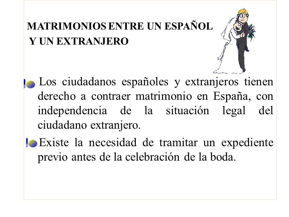 MATRIMONIOS ENTRE UN ESPAÑOL