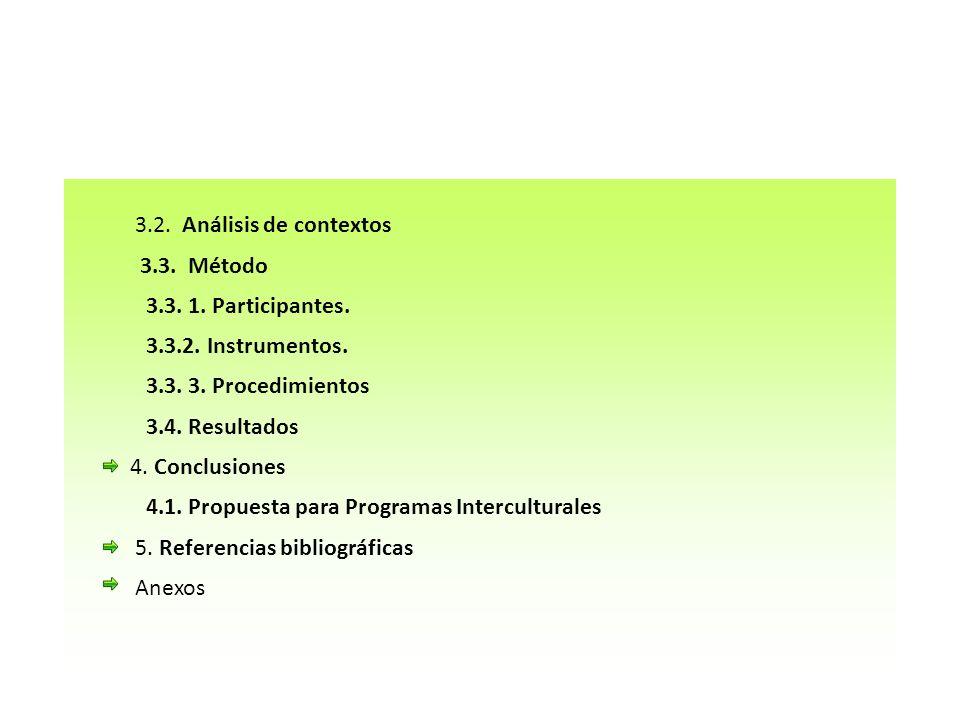 3.2. Análisis de contextos 3.3. Método. 3.3. 1. Participantes. 3.3.2. Instrumentos. 3.3. 3. Procedimientos.