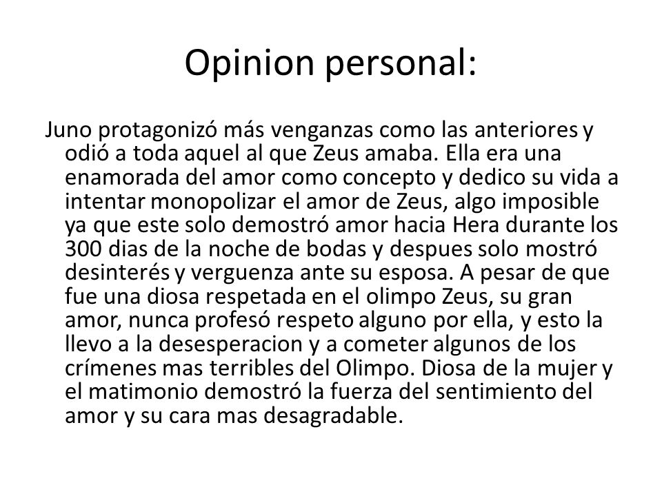 Opinion personal: