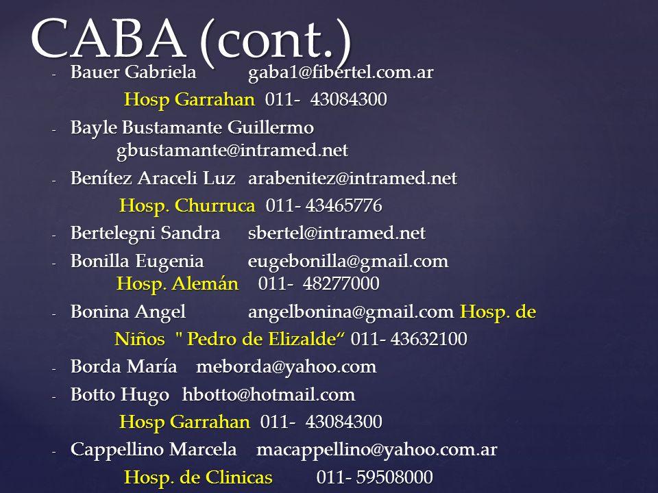 CABA (cont.) Bauer Gabriela gaba1@fibertel.com.ar