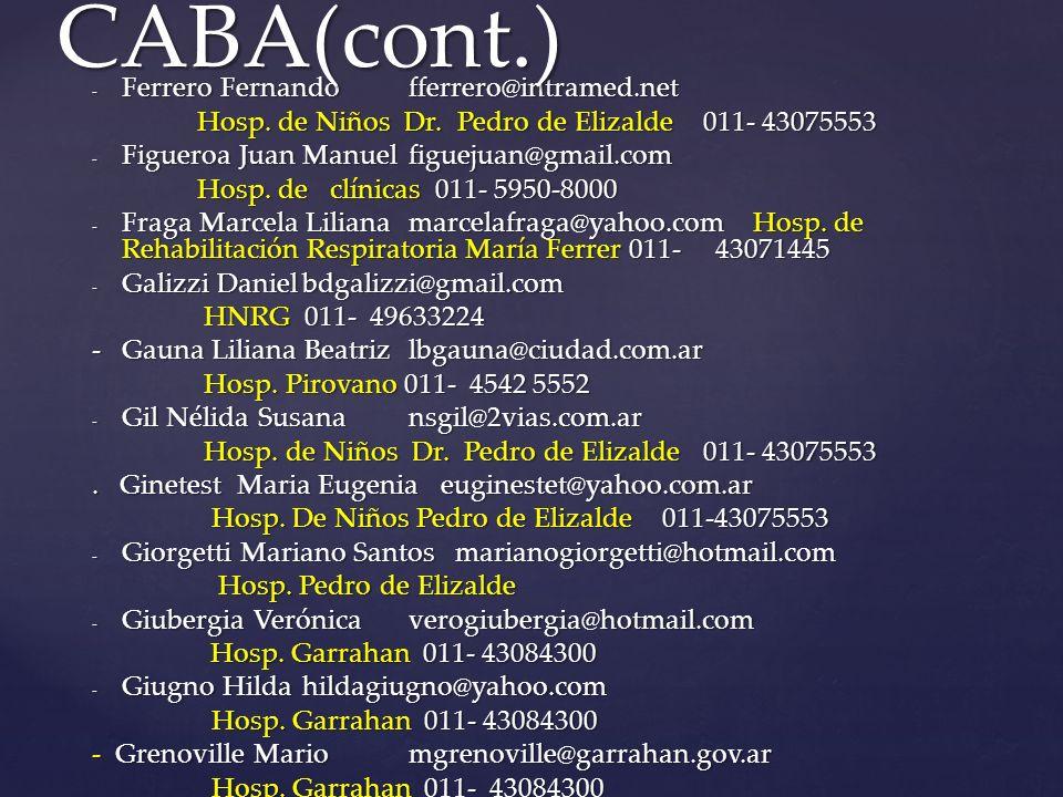 CABA(cont.) Ferrero Fernando fferrero@intramed.net