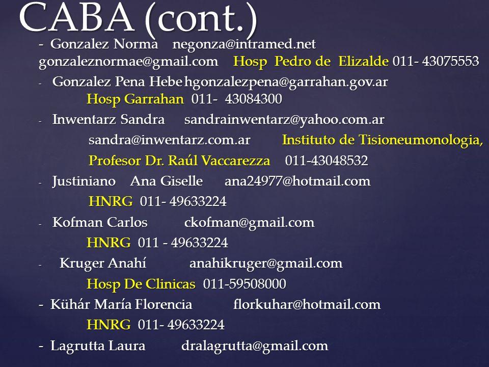 CABA (cont.) - Gonzalez Norma negonza@intramed.net gonzaleznormae@gmail.com Hosp Pedro de Elizalde 011- 43075553.