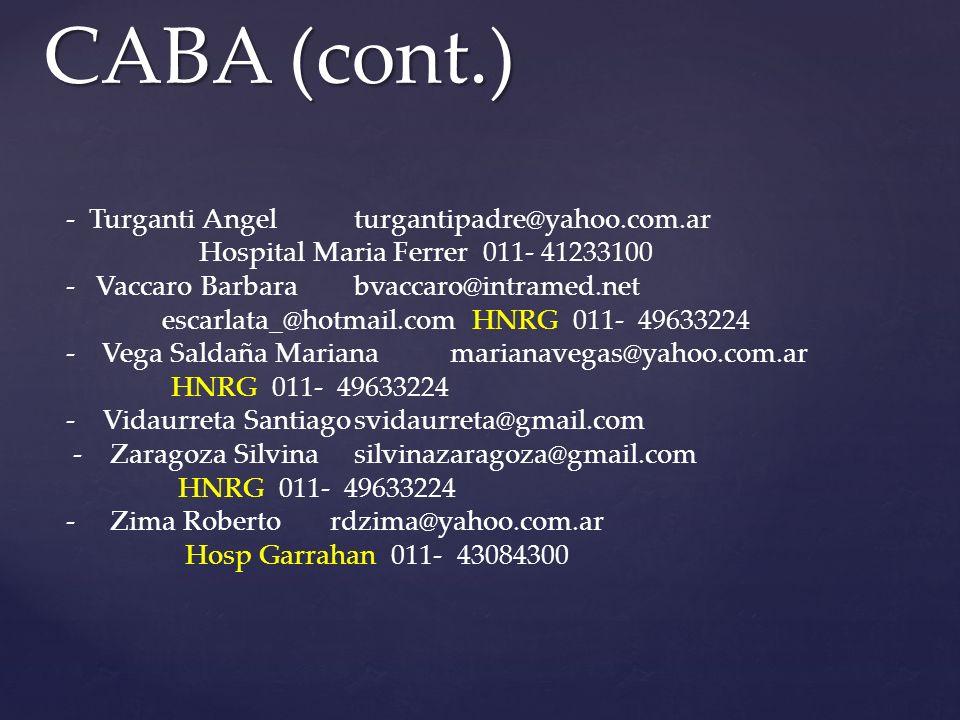 CABA (cont.) - Turganti Angel turgantipadre@yahoo.com.ar