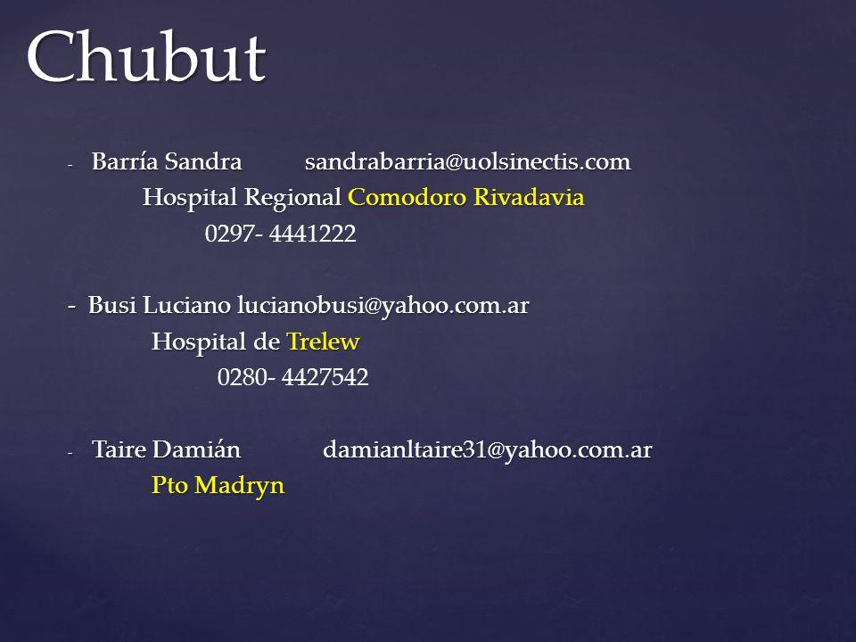 Chubut Barría Sandra sandrabarria@uolsinectis.com