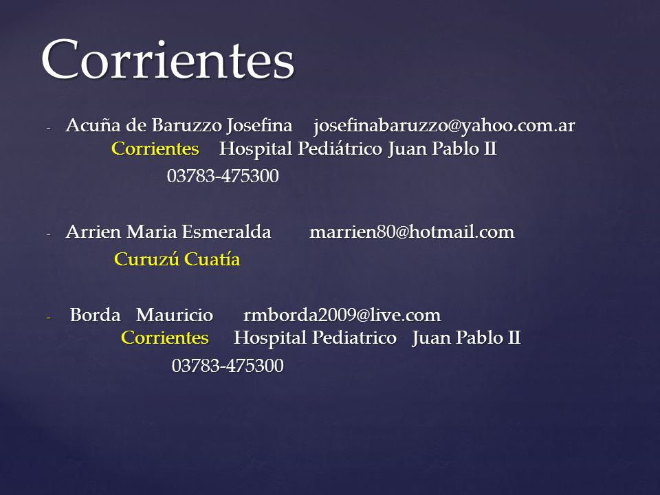 Corrientes Acuña de Baruzzo Josefina josefinabaruzzo@yahoo.com.ar Corrientes Hospital Pediátrico Juan Pablo II.