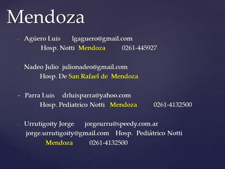 Mendoza Agüero Luis lgaguero@gmail.com Hosp. Notti Mendoza 0261-445927