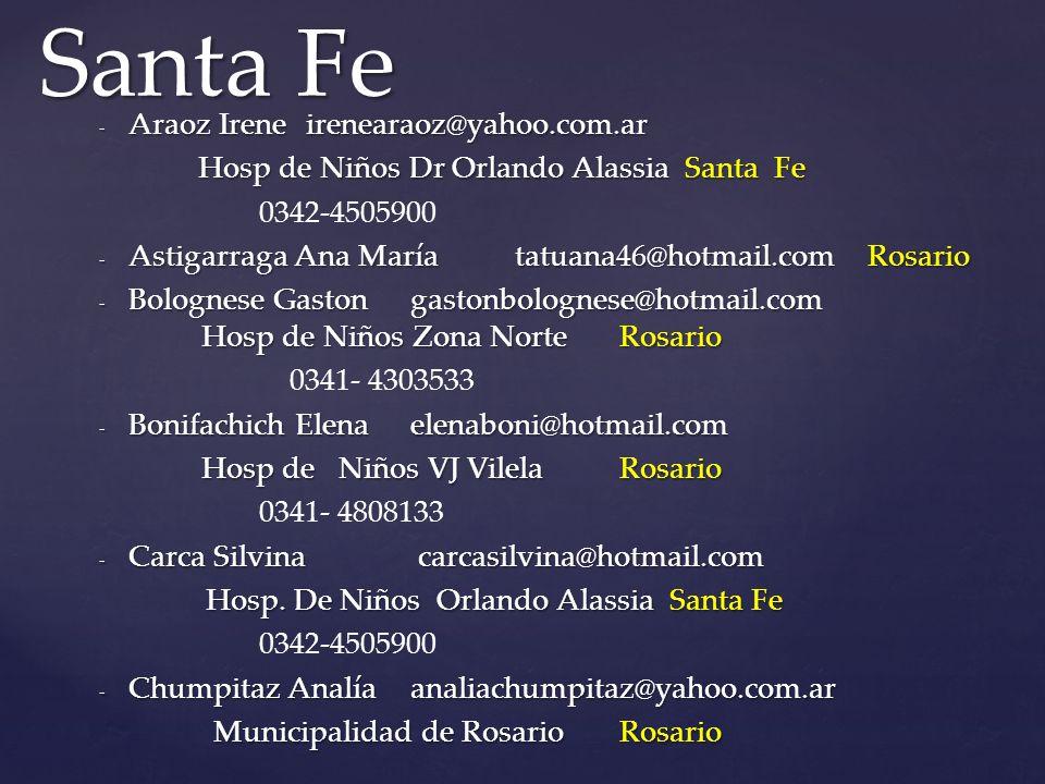 Santa Fe Araoz Irene irenearaoz@yahoo.com.ar