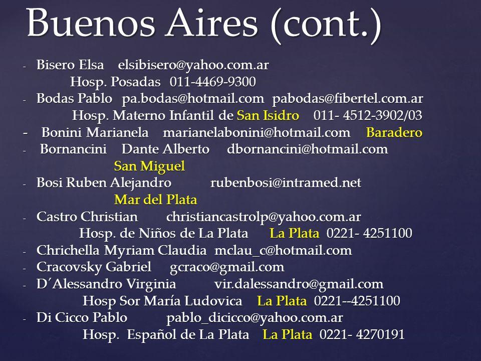 Buenos Aires (cont.) Bisero Elsa elsibisero@yahoo.com.ar