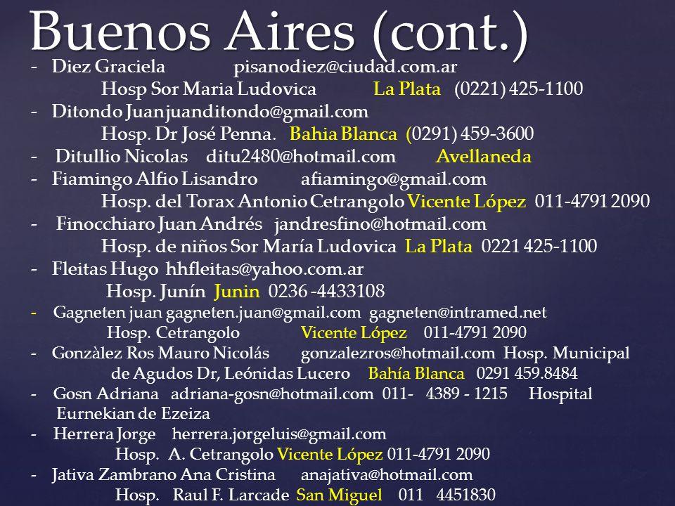 Buenos Aires (cont.) Diez Graciela pisanodiez@ciudad.com.ar