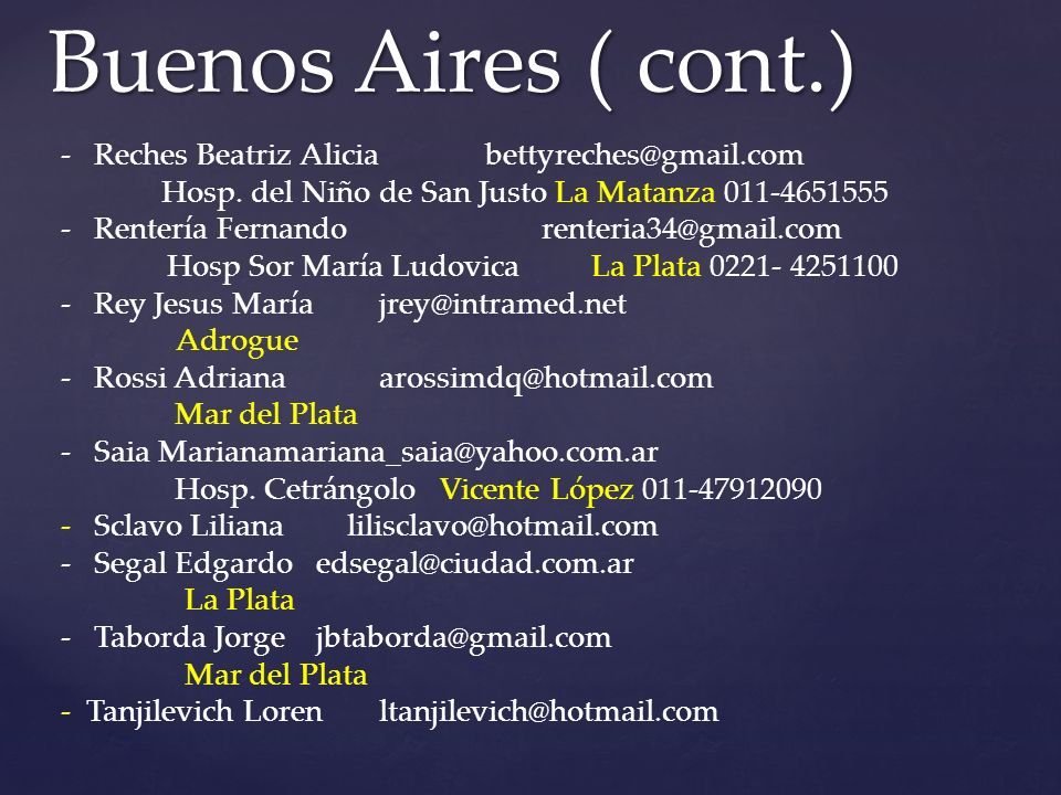 Buenos Aires ( cont.) Reches Beatriz Alicia bettyreches@gmail.com
