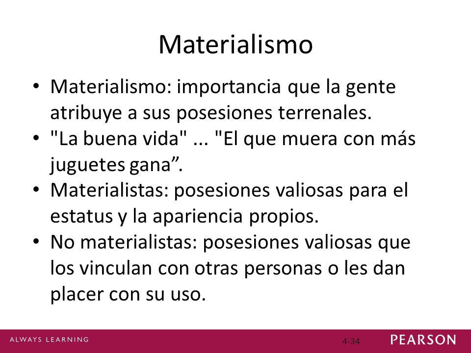 Materialismo Materialismo: importancia que la gente atribuye a sus posesiones terrenales. La buena vida ... El que muera con más juguetes gana .