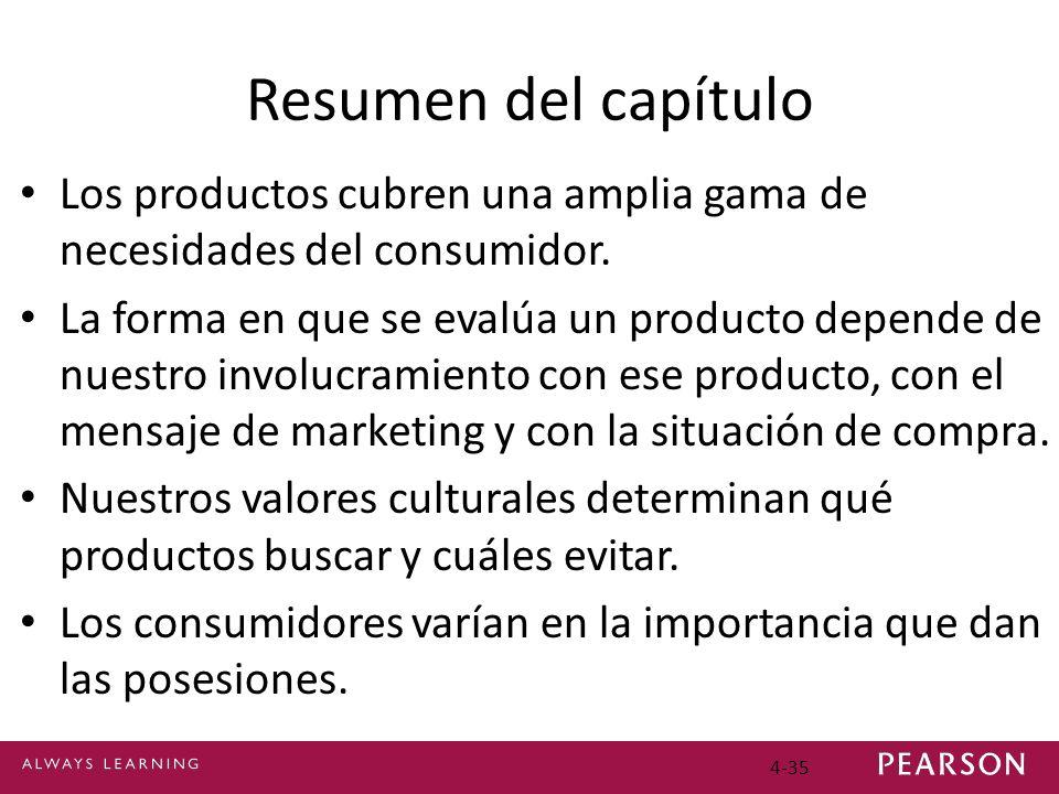 Resumen del capítulo Los productos cubren una amplia gama de necesidades del consumidor.