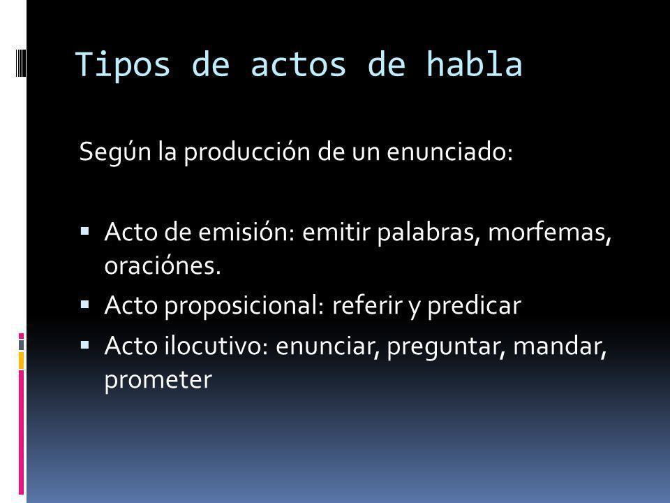 Tipos de actos de habla Según la producción de un enunciado: