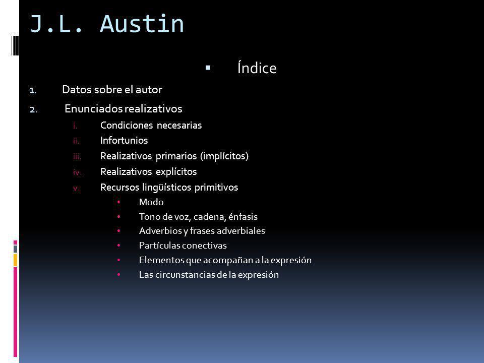 J.L. Austin Índice Datos sobre el autor Enunciados realizativos