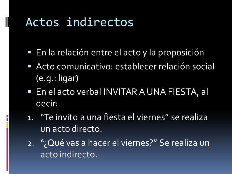 Actos indirectos En la relación entre el acto y la proposición