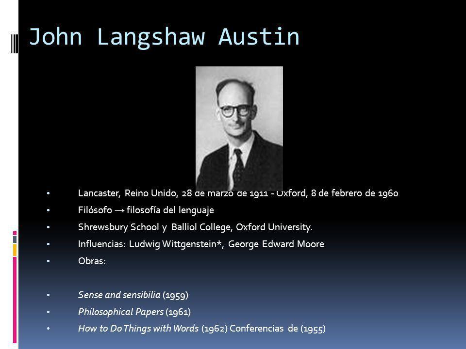 John Langshaw Austin Lancaster, Reino Unido, 28 de marzo de 1911 - Oxford, 8 de febrero de 1960. Filósofo → filosofía del lenguaje.