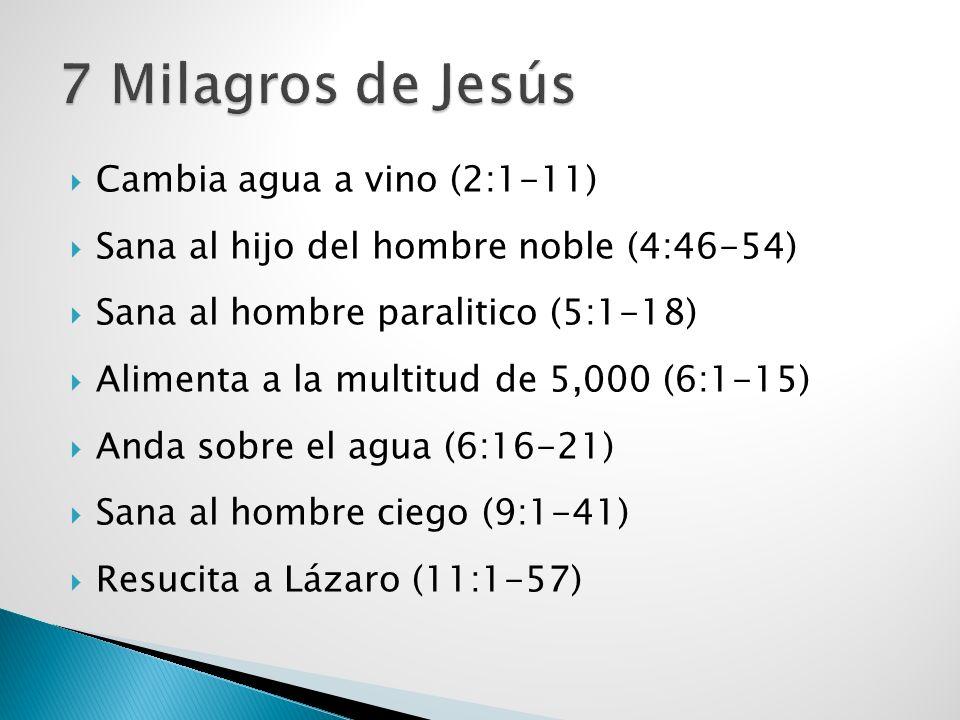 7 Milagros de Jesús Cambia agua a vino (2:1-11)