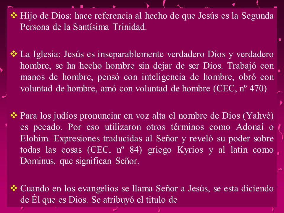 Hijo de Dios: hace referencia al hecho de que Jesús es la Segunda Persona de la Santísima Trinidad.