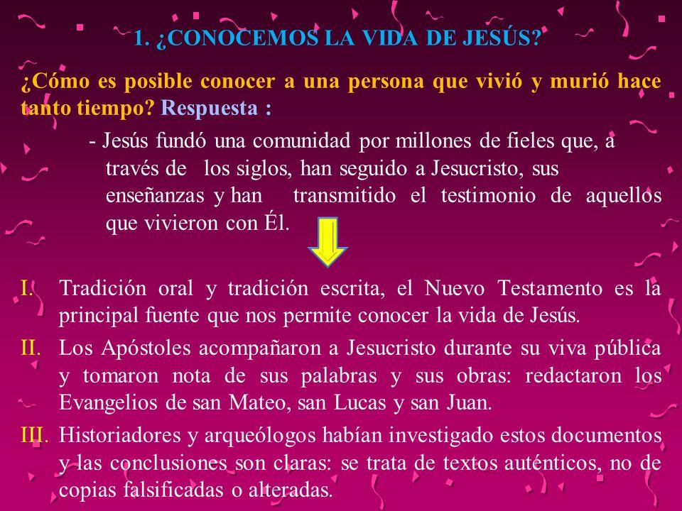 1. ¿CONOCEMOS LA VIDA DE JESÚS