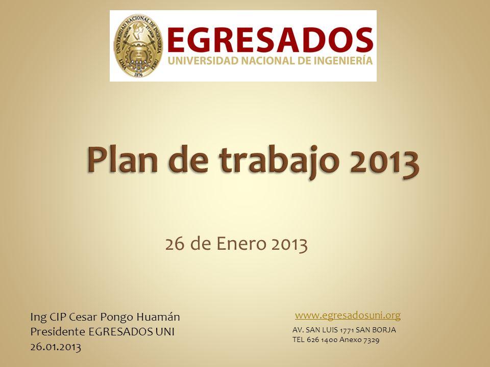 Plan de trabajo 2013 26 de Enero 2013 Ing CIP Cesar Pongo Huamán