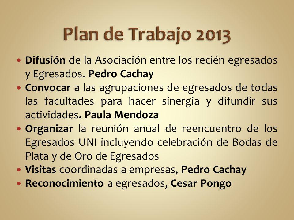 Plan de Trabajo 2013 Difusión de la Asociación entre los recién egresados y Egresados. Pedro Cachay.