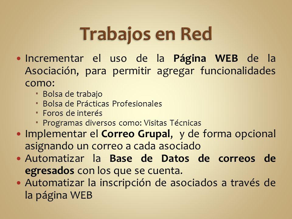 Trabajos en Red Incrementar el uso de la Página WEB de la Asociación, para permitir agregar funcionalidades como: