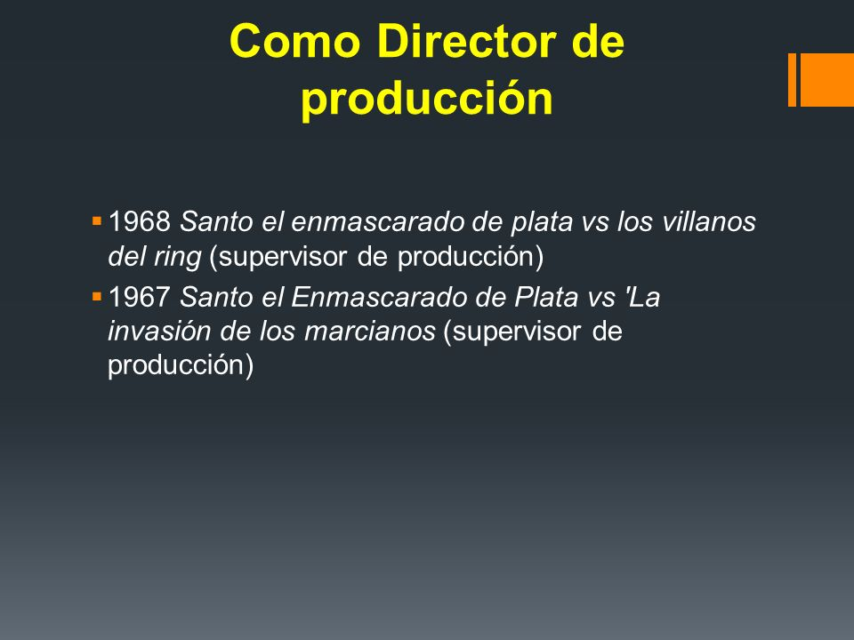 Como Director de producción
