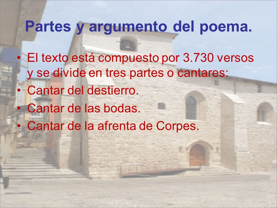 Partes y argumento del poema.