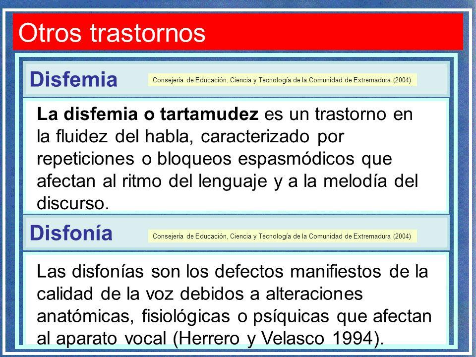 Otros trastornos Disfemia Disfonía