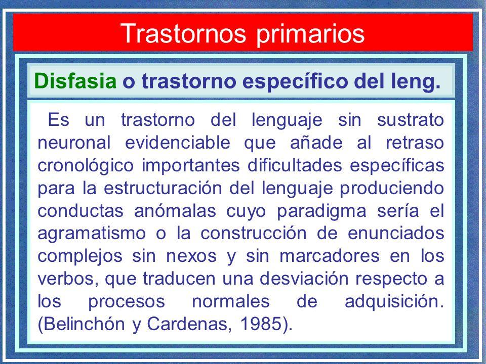 Trastornos primarios Disfasia o trastorno específico del leng.