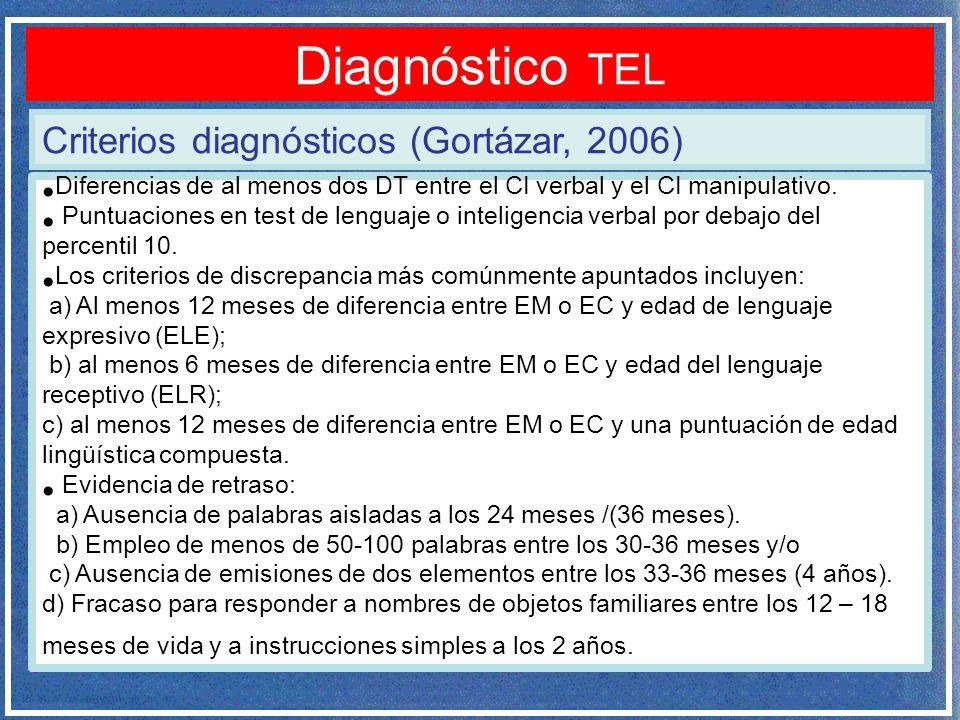 Diagnóstico TEL Criterios diagnósticos (Gortázar, 2006)