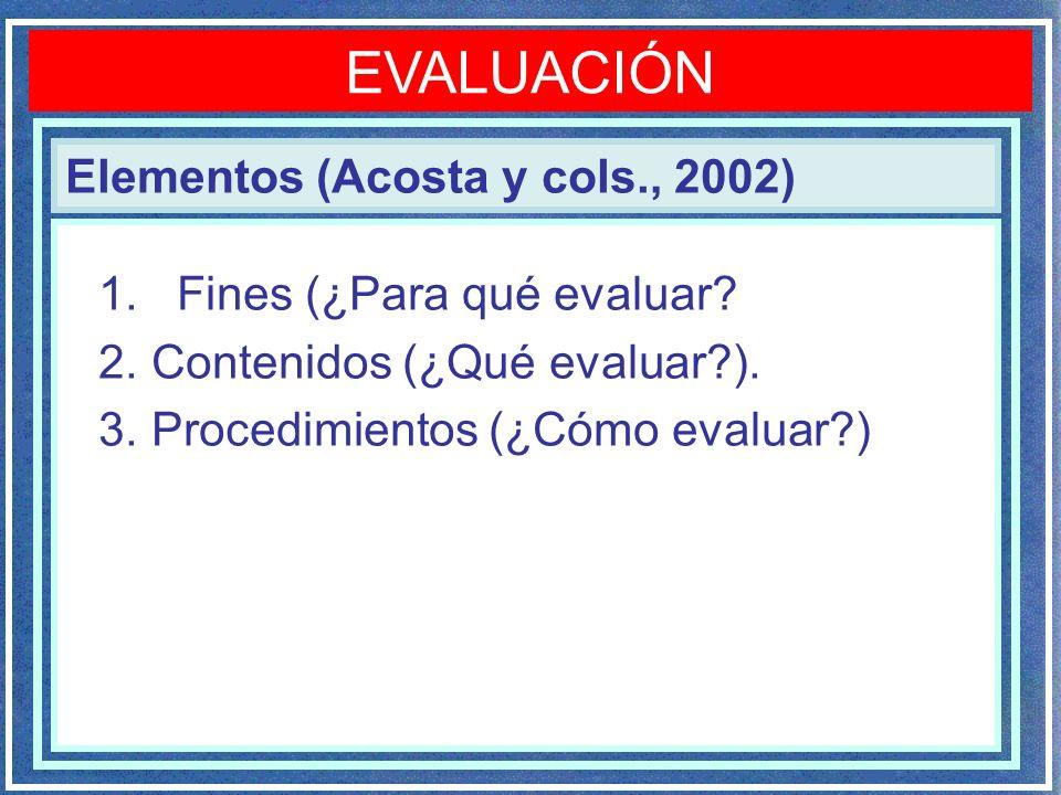 EVALUACIÓN Elementos (Acosta y cols., 2002) Fines (¿Para qué evaluar