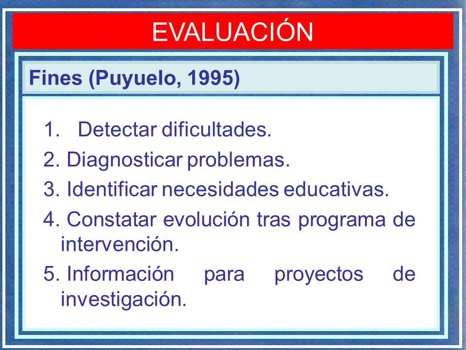 EVALUACIÓN Fines (Puyuelo, 1995) Detectar dificultades.