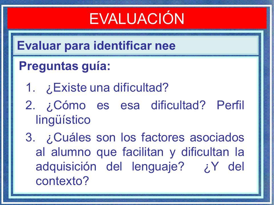 EVALUACIÓN Evaluar para identificar nee Preguntas guía: