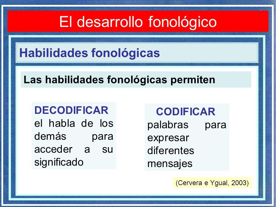 Trastornos fonológicos El desarrollo fonológico