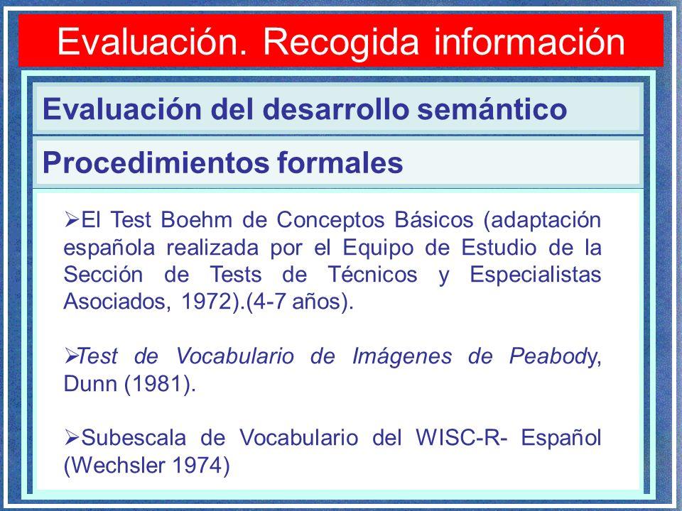 Evaluación. Recogida información