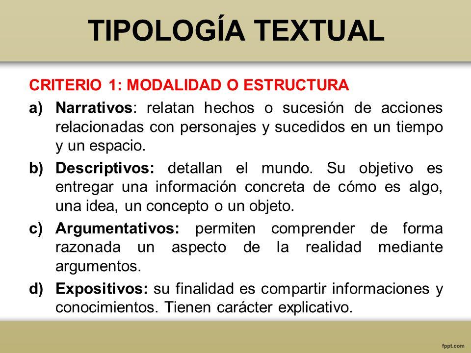 TIPOLOGÍA TEXTUAL CRITERIO 1: MODALIDAD O ESTRUCTURA