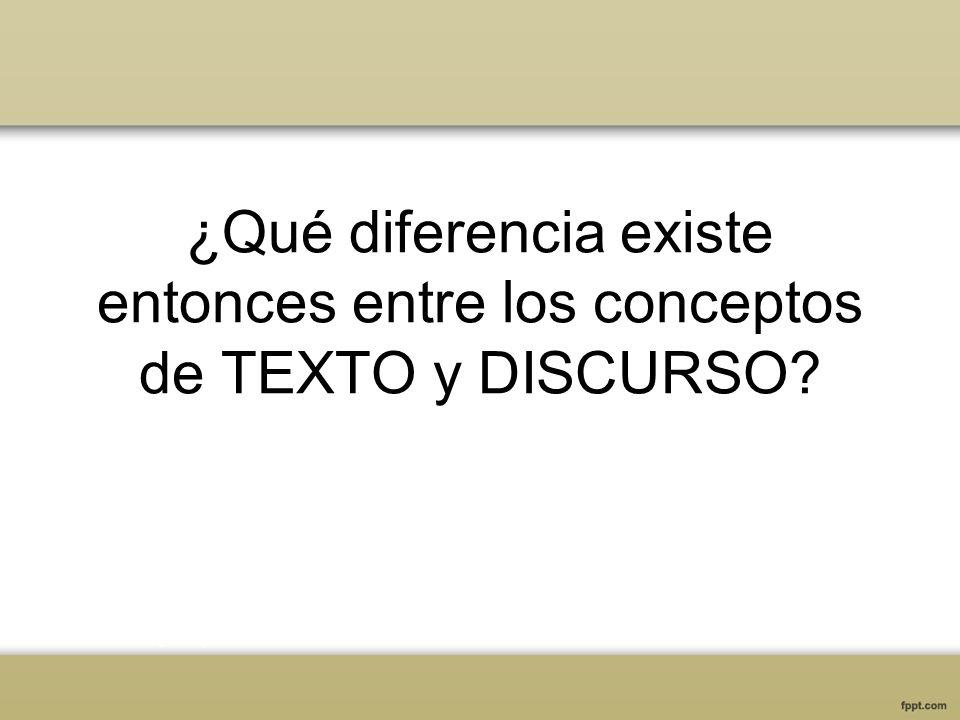 ¿Qué diferencia existe entonces entre los conceptos de TEXTO y DISCURSO