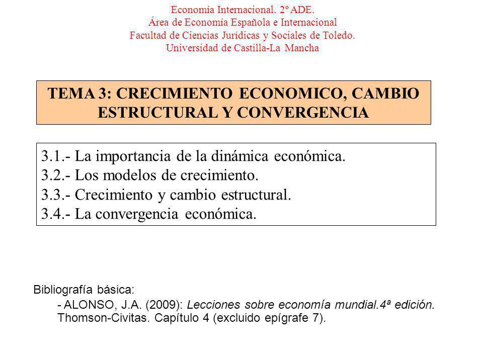 TEMA 3: CRECIMIENTO ECONOMICO, CAMBIO ESTRUCTURAL Y CONVERGENCIA