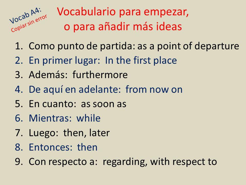 Vocabulario para empezar, o para añadir más ideas