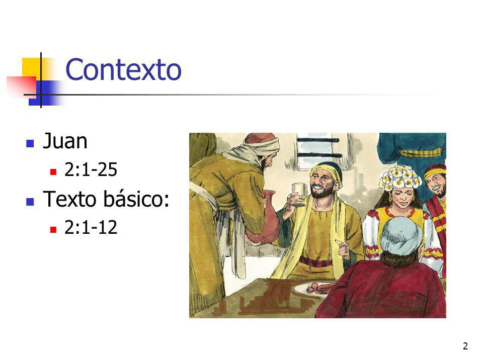 Contexto Juan 2:1-25 Texto básico: 2:1-12
