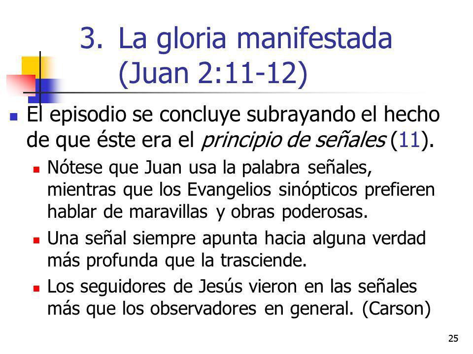 La gloria manifestada (Juan 2:11-12)