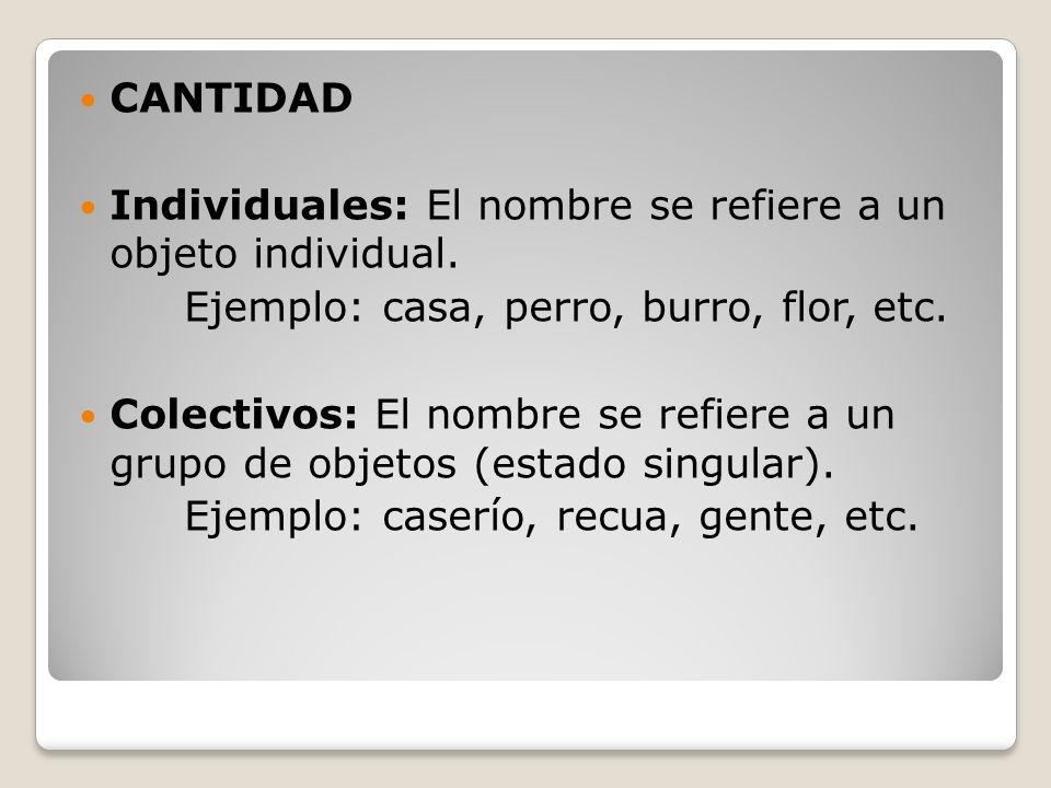CANTIDAD Individuales: El nombre se refiere a un objeto individual. Ejemplo: casa, perro, burro, flor, etc.