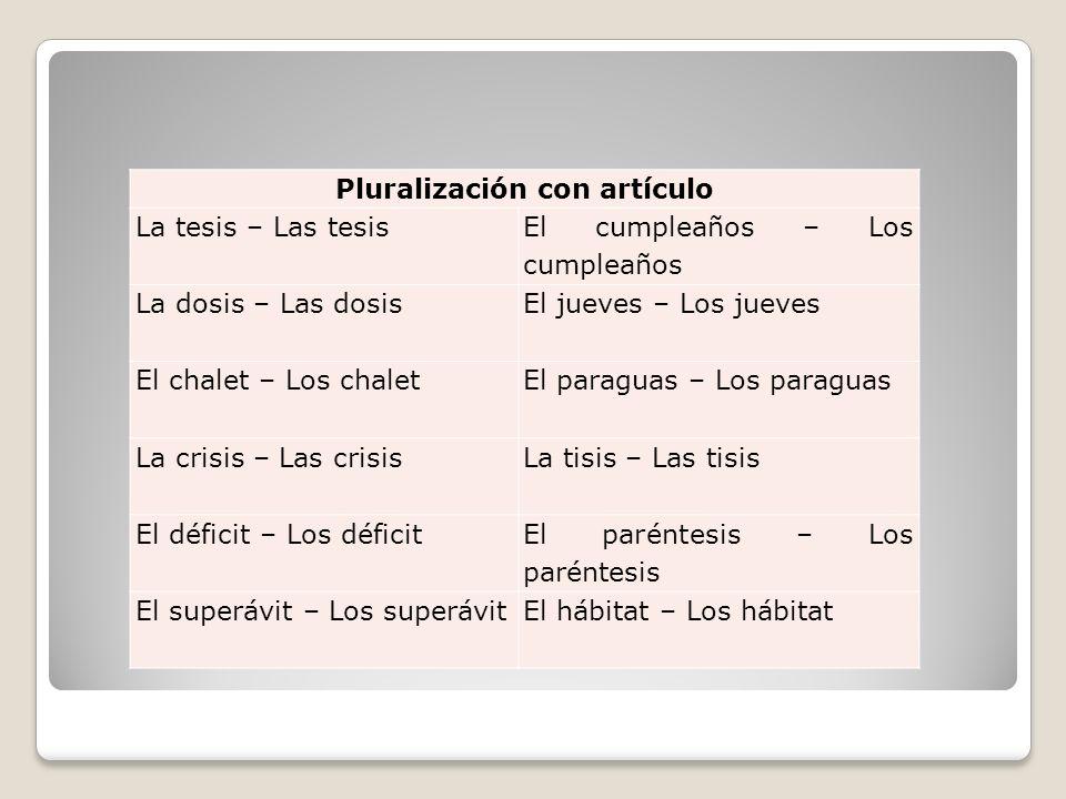 Pluralización con artículo