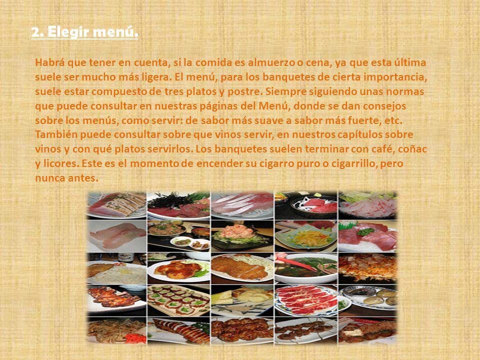 2. Elegir menú.